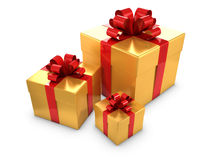 3d Gold and red gift boxes Royalty Free Stock Image