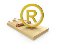 3d Gold registered symbol on mousetrap Royalty Free Stock Photos