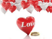 3d gold ring and Heart balloons. Valentines Day concept. Stock Photography