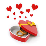 3d gold ring in a heart shape case. On white background Royalty Free Stock Photography