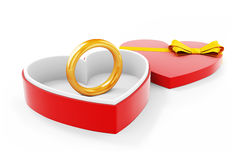 3d gold ring in a heart shape case. On white background Stock Images