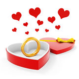 3d gold ring in a heart shape case. On white background Royalty Free Stock Images