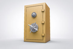 3D Gold safe box render. 3D golden closed security box render for cash or money Royalty Free Stock Photo
