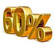 3d Gold 60 sechzig Prozent-Rabatt-Zeichen Stockbild