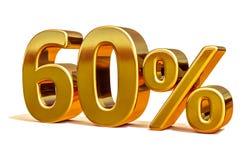 3d Gold 60 sechzig Prozent-Rabatt-Zeichen Lizenzfreie Stockfotografie