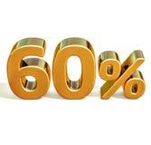 3d Gold 60 sechzig Prozent-Rabatt-Zeichen Lizenzfreies Stockfoto