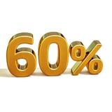 3d Gold 60 sechzig Prozent-Rabatt-Zeichen Lizenzfreie Stockfotos