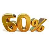 3d Gold 60 sechzig Prozent-Rabatt-Zeichen Stockfotografie