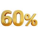 3d Gold 60 sechzig Prozent-Rabatt-Zeichen Stockfoto