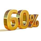 3d Gold 60 sechzig Prozent-Rabatt-Zeichen Stockfotos