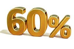 3d Gold 60 sechzig Prozent-Rabatt-Zeichen Lizenzfreie Stockbilder
