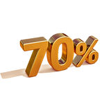 3d Gold 70 Seventy Percent Discount Sign Stock Photography