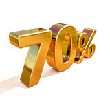 3d Gold 70 Seventy Percent Discount Sign Royalty Free Stock Photo