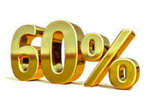 3d Gold 60 Sixty Percent Discount Sign Royalty Free Stock Photos