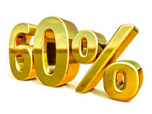 3d Gold 60 Sixty Percent Discount Sign Stock Image