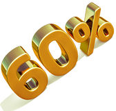 3d Gold 60 Sixty Percent Discount Sign Stock Photography