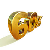 3d Gold 60 Sixty Percent Discount Sign. Gold Sale 60%, Gold Percent Off Discount Sign, Sale Banner Template, Special Offer 60% Off Discount Tag, Golden Sixty stock illustration