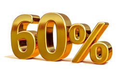 3d Gold 60 Sixty Percent Discount Sign Royalty Free Stock Photography