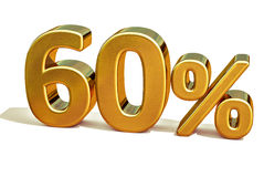 3d Gold 60 Sixty Percent Discount Sign. Gold Sale 60%, Gold Percent Off Discount Sign, Sale Banner Template, Special Offer 60% Off Discount Tag, Golden Sixty Royalty Free Stock Images