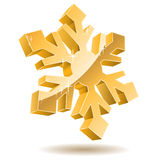 3D gold snowflake Stock Photography
