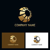 3D gold sphere digital technology logo Stock Image