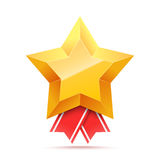 3D Gold star medal and red ribbon. Royalty Free Stock Photography