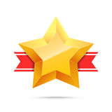 3D Gold star and red ribbon. Victory icon. Winner award. Best choice. Vector illustration Stock Photo