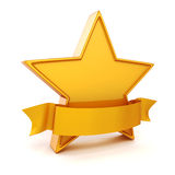 3d gold star on white background Royalty Free Stock Image