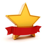 3d gold star on white background Stock Photography