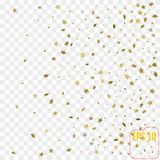 3d Gold stars. Confetti celebration, Falling golden abstract   Royalty Free Stock Images