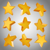 3d gold stars on gray background Royalty Free Stock Photo