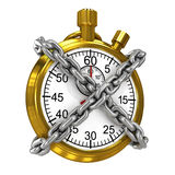 3d Gold stopwatch bound by chains Royalty Free Stock Photography