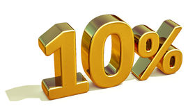 3d Gold 10 Ten Percent Discount Sign Stock Image