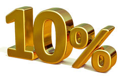 3d Gold 10 Ten Percent Discount Sign Stock Photography
