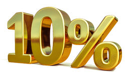 3d Gold 10 Ten Percent Discount Sign. Gold 10 Percent Off Discount Sign, Sale Banner Template, Special Offer 10% Off Discount Tag, Ten Percentages Up Sticker Royalty Free Stock Image
