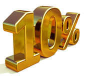 3d Gold 10 Ten Percent Discount Sign Stock Images