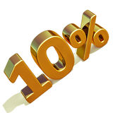 3d Gold 10 Ten Percent Discount Sign. Gold 10 Percent Off Discount Sign, Sale Banner Template, Special Offer 10% Off Discount Tag, Ten Percentages Up Sticker Royalty Free Stock Photography