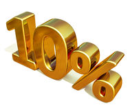 3d Gold 10 Ten Percent Discount Sign Stock Photos