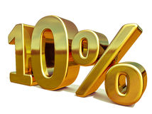 3d Gold 10 Ten Percent Discount Sign Royalty Free Stock Photo
