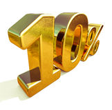 3d Gold 10 Ten Percent Discount Sign. Gold 10 Percent Off Discount Sign, Sale Banner Template, Special Offer 10% Off Discount Tag, Ten Percentages Up Sticker Royalty Free Stock Photo