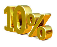 3d Gold 10 Ten Percent Discount Sign Royalty Free Stock Image