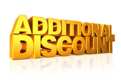 3D gold text additional discount. Royalty Free Stock Photography