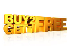 3D gold text buy 2 get 1 free. 3D gold text buy 2 get 1 free on white background with reflection Stock Images