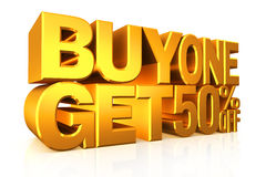 3D gold text buy 2 get 50 percent off. 3D gold text buy 2 get 50 percent off on white background with reflection Stock Photos