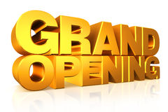 3D gold text grand opening. Stock Photo
