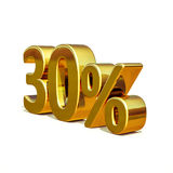 3d Gold 30 Thirty Percent Discount Sign Royalty Free Stock Photography