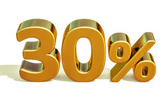 3d Gold 30 Thirty Percent Discount Sign Stock Photo