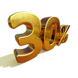 3d Gold 30 Thirty Percent Discount Sign Royalty Free Stock Images