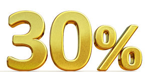 3d Gold 30 Thirty Percent Discount Sign Stock Images