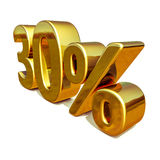 3d Gold 30 Thirty Percent Discount Sign Royalty Free Stock Photos